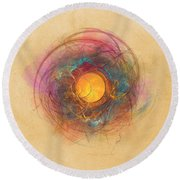 Sun Fractal Abstract Art Round Beach Towel