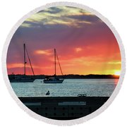 Sun Gazing Round Beach Towel