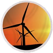 Sun Glare Upon Alberta Windfarm Round Beach Towel
