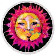 Sun Goddess She Sun Round Beach Towel