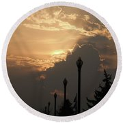 Sun In A Cloud Of Glory Round Beach Towel