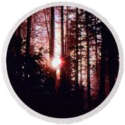 Sun In The Forest Two  Round Beach Towel