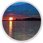 Sun Is Setting Over Port Hood Island Round Beach Towel