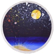 Sun Moon And Stars Round Beach Towel by Donna Blossom