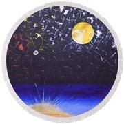 Sun Moon And Stars Round Beach Towel
