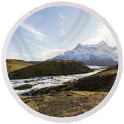 Sun On The River Round Beach Towel