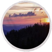 Sun Over Cedar Round Beach Towel