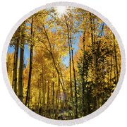 Sun Peaking Through The Aspens  Round Beach Towel
