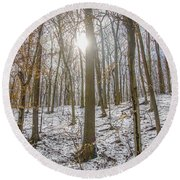 Sun Peaking Through The Trees - Fairmount Park Round Beach Towel