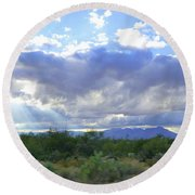 Sun Rays And Desert Landscape Round Beach Towel
