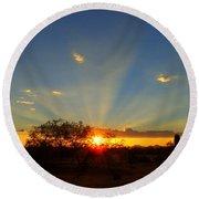 Sun Rays At Sunset With Tree And Saguaro Round Beach Towel