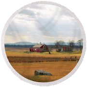 Sun Rays On Codori Farm. Round Beach Towel