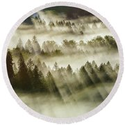 Sun Rays Over Foggy Oregon Forest Round Beach Towel