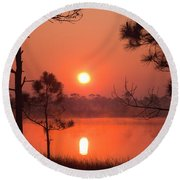 Sun Rise At Red Lake Grayton Beach State Park Florida Round Beach Towel