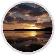 Sun Rise At West Lake In The Everglades Round Beach Towel