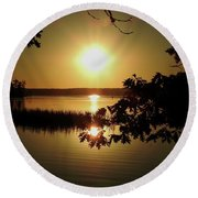 Sun Rise, Hamlin Lake Photograph Round Beach Towel