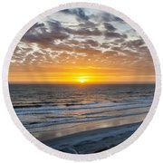 Sun Rising Over Atlantic Round Beach Towel