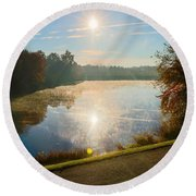 Sun Rising Over Lake Inspiration Round Beach Towel