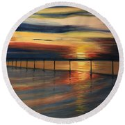 Sun Set At Seabridge Round Beach Towel