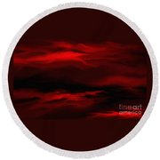 Sun Sets In Red Round Beach Towel