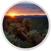 Sun Sets Over The Sonoran  Round Beach Towel