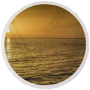 Sun Setting In Barbados Round Beach Towel