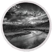 Sun Setting On The Owens River Round Beach Towel