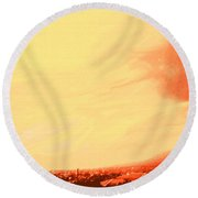 Sun Setting Over Basseterre Harbour Round Beach Towel