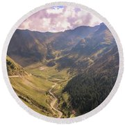 Sun Shining In The Valley Round Beach Towel
