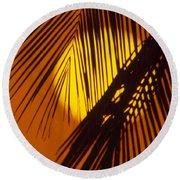 Sun Shining Through Palms Round Beach Towel