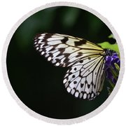 Sun Shining Through The Wings Of A Rice Paper Butterfly Round Beach Towel