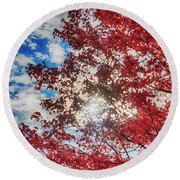 Sun Sky Clouds And A Red Maple Round Beach Towel