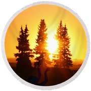 Sun Sorceress Round Beach Towel