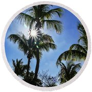 Sun Through Smathers Beach Palms Round Beach Towel