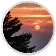 Sun Through The Clouds And Trees Sunset At The Mountains Round Beach Towel