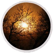 Sun Trees Round Beach Towel