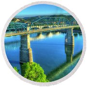 Sun Up Reflections Chattanooga Tennessee Round Beach Towel