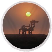 Sun Up The Iron Horse Art Round Beach Towel