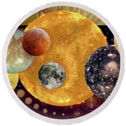 Sun With Planet Moons Round Beach Towel