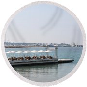 Sunbathing In A Row Round Beach Towel