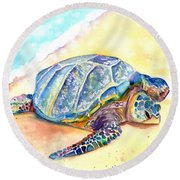 Sunbathing Turtle Round Beach Towel