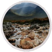 Sunbeams, Glencoe, Scotland Round Beach Towel