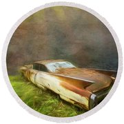 Sunbeams On A Classic Cadillac Round Beach Towel