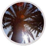 Sunbeams Through The Palms Round Beach Towel