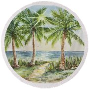 Sunburst Beach Morning Round Beach Towel
