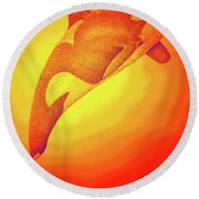 Sunburst Orca Round Beach Towel