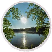 Sunburst Over The Reservoir Round Beach Towel