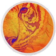 Sunburst Tiger Round Beach Towel