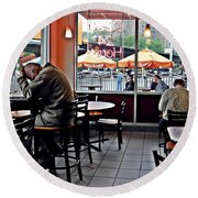 Sunday Afternoon At Dunkin Donuts Round Beach Towel