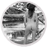 Sunday Afternoon By The River Round Beach Towel